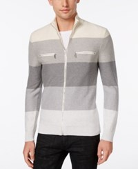 Inc International Concepts Men's Copperfield Striped Zip Front Sweater Only At Macy's Sesame Heather