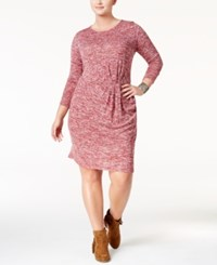 Love Squared Trendy Plus Size Twist Front Sweater Dress Ruby