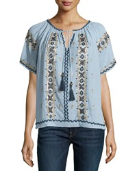 Calypso St. Barth Alberdi Embroidered Short Sleeve Blouse Chmbrycc