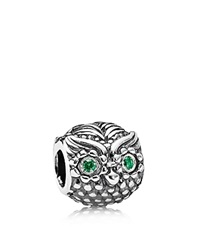 Pandora Design Pandora Charm Sterling Silver And Cubic Zirconia Wise Owl Moments Collection Silver Green
