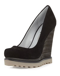 Luxury Rebel Syri Suede Stacked Wedge Black