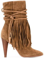 Ash Fringed Boots Brown