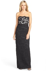 Aidan Mattox Strapless Lace Gown Black White