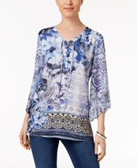 Jm Collection Printed Lace Up Tunic Only At Macy's Natural Width