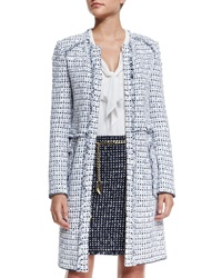 St. John Monte Solaro Jewel Neck Topper Coat Bianco Multi