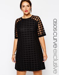 Asos Curve Exclusive Shift Dress In Cage Mesh Black