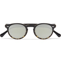 Oliver Peoples Gregory Peck Acetate Round Frame Sunglasses Black