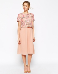 Frock And Frill 2 In 1 Embellished Top Midi Skater Dress With Chiffon Skirt Nudepink
