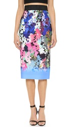 Milly Ombre Floral Print Midi Skirt Multi