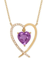 Macy's Amethyst 1 1 10 Ct. T.W. And Diamond Accent Heart Pendant Necklace In 14K Gold Purple