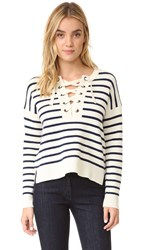 Madewell Striped Lace Up Pullover Sweater Antique Cream