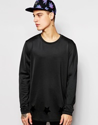 Asos Oversized Longline Sweatshirt With Cut Out Hem Detail Black