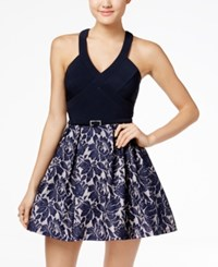 Crystal Doll Juniors' Belted Lace Fit And Flare Dress Navy Nude