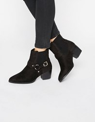 Truffle Collection Buckle Western Mid Heel Boots Black Mf