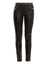 Saint Laurent Studded Skinny Leg Leather Trousers