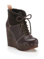 See By Chloe Clive Faux Leather And Shearling Clog Wedge Booties Brown