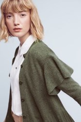Anthropologie Ruffled Shoulder Cardigan Green