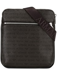 Armani Jeans Logo Pattern Shoulder Bag Brown