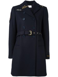 Red Valentino Double Breasted Patched Coat Blue