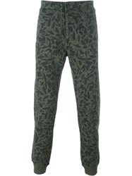 Paul Smith Jeans Leaf Print Sweat Pants Green