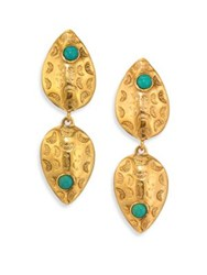 Lizzie Fortunato Concho Turquoise Drop Earrings Gold Turquoise