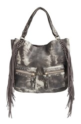 Big Buddha Fringe Faux Leather Expandable Tote Grey Grey Tye Dye
