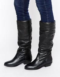 Office Hazel Slouch Flat Leather Knee Boots Black Leather