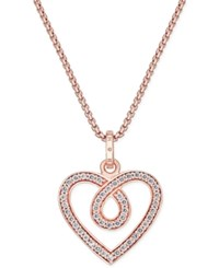 Thomas Sabo Glam And Soul White Zirconia Heart Pendant Necklace In 18K Rose Gold Plated Sterling Silver