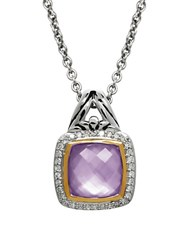 Lord And Taylor Quartz Diamond Sterling Silver Pendant Necklace Purple