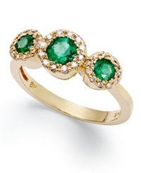 Effy Collection Brasilica By Effy Emerald 5 8 Ct. T.W. And Diamond 1 6 Ct. T.W. Three Stone Ring In 14K Gold