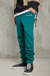 Forever 21 Good Life Embroidered Sweatpant Green White