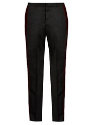 Alexander Mcqueen Velvet Trimmed Straight Leg Wool Trousers Black