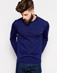 Peter Werth Long Sleeve Knitted Polo Windsorblue
