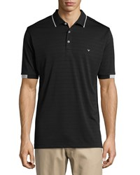 Callaway Short Sleeve Striped Knit Polo Shirt W Contrast Trim Caviar Black