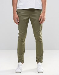 Asos Super Skinny Chinos In Khaki Burnt Olive Green