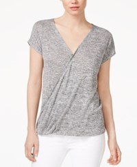 Rachel Rachel Roy Cap Sleeve Wrap T Shirt Black Heather