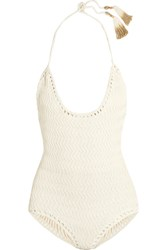 She Made Me Laharia Crocheted Cotton Swimsuit Off White