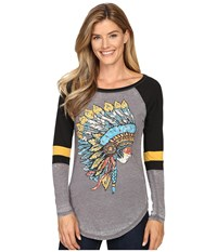 Rock And Roll Cowgirl Long Sleeve Baseball Tee 48T8217 Charcoal Women's T Shirt Gray