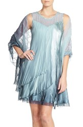 Women's Komarov Charmeuse And Chiffon A Line Dress With Wrap