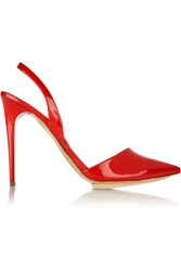 Stella Mccartney Faux Patent Leather Slingback Pumps Red