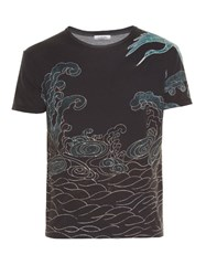Valentino Japanese Sea Print Crew Neck T Shirt Navy Multi
