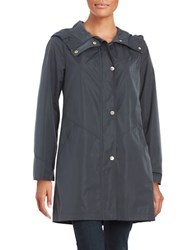 Ellen Tracy Snap Front Hooded Jacket Navy Blue