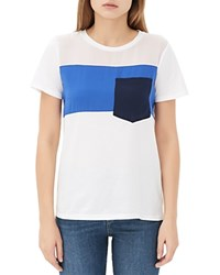 Sandro Tale Color Block Pocket Tee Ecru