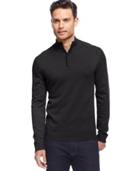 Alfani Red Solid Slim Fit Quarter Zip Sweater Black Ice Heather