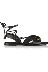 Tomas Maier Studded Lace Up Leather Sandals Black