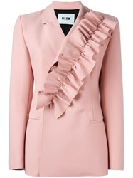 Msgm Ruffle Detail Suit Jacket Pink And Purple