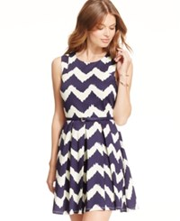 City Triangles City Studios Juniors' Pleated Chevron Print Tank Dress Ivory Navy