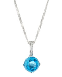 Frederic Sage Jelly Bean Blue Topaz And Diamond Pendant Necklace