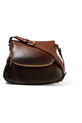 Tom Ford Jennifer Medium Ombre Leather Shoulder Bag Dark Brown