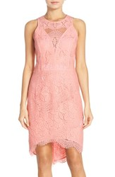 Women's Adelyn Rae Lace High Low Sheath Dress Light Pink